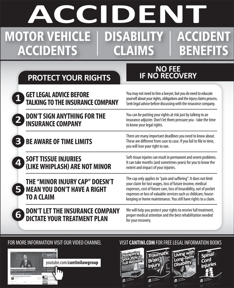 Cantini Law Group (506-867-2529) - Display Ad - MOTOR VEHICLE ACCIDENTDISABILITY ACCIDENTS BENEFITSCLAIMS