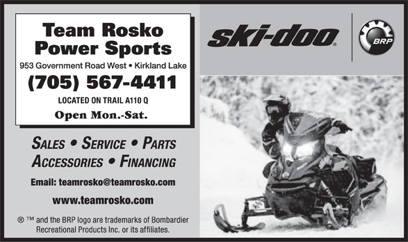 Team Rosko Power Sports (705-567-4411) - Display Ad -