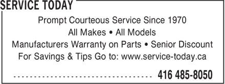 Service Today (416-485-8050) - Annonce illustrée======= -