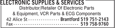 Electronic Supplies & Services (519-751-2143) - Annonce illustrée======= - Distributor/Retailer Of Electronic Parts & Equipment, VCR Parts & ECG Components