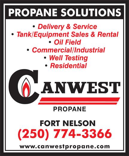 Canwest Propane (250-774-3366) - Annonce illustrée======= -