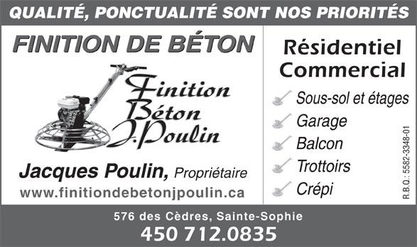 Finition de b ton jacques poulin inc 576 rue des c dres sainte sophie qc - Finition plancher beton sous sol ...