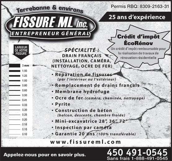 Fissure m l 364 boul industriel saint eustache qc - Credit d impot pour installation d un insert ...
