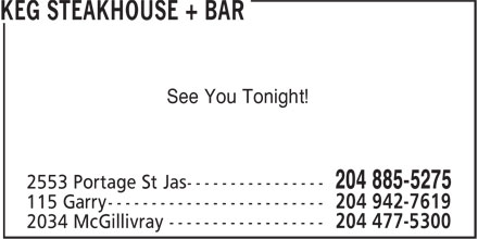 The Keg Steakhouse & Bar (204-885-5275) - Display Ad - See You Tonight!