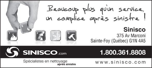 Sinisco Québec (418-681-2231) - Annonce illustrée======= - Sinisco 375 Av Marconi Sainte-Foy (Québec) G1N 4A5
