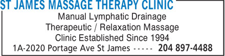 St James Massage Therapy Clinic (204-897-4488) - Annonce illustrée======= - Manual Lymphatic Drainage Therapeutic / Relaxation Massage Clinic Established Since 1994