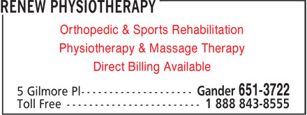 Renew Physiotherapy (709-651-3722) - Annonce illustrée======= - Physiotherapy & Massage Therapy Direct Billing Available Orthopedic & Sports Rehabilitation