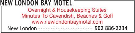 New London Bay Motel (902-886-2234) - Annonce illustrée======= - Overnight & Housekeeping Suites Minutes To Cavendish, Beaches & Golf www.newlondonbaymotel.com