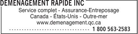 Déménagement Rapide (514-365-4434) - Annonce illustrée======= - Service complet - Assurance-Entreposage www.demenagement.qc.ca Canada - États-Unis - Outre-mer