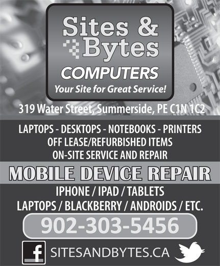 Sites & Bytes Computers (902-888-2164) - Annonce illustrée======= - COMPUTERS Your Site for Great Service! SITESANDBYTES.CA