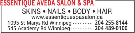 Essentique Aveda Salon & Spa (204-255-8144) - Annonce illustrée======= - SKINS • NAILS • BODY • HAIR www.essentiquespasalon.ca