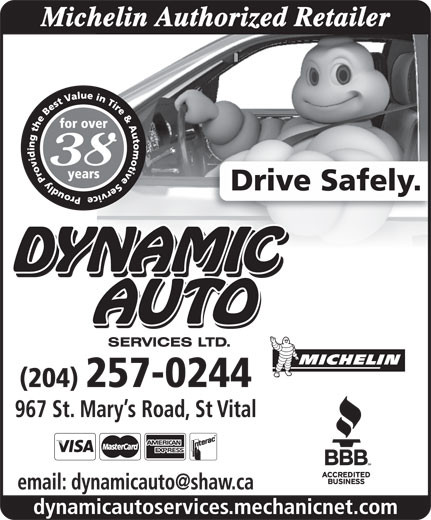 Dynamic Auto Services Ltd-Authorized Michelin Retailer (204-257-0244) - Display Ad -