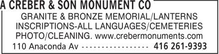 Creber Son Co (416-261-9393) - Annonce illustrée======= - GRANITE & BRONZE MEMORIAL/LANTERNS INSCRIPTIONS-ALL LANGUAGES/CEMETERIES PHOTO/CLEANING. www.crebermonuments.com GRANITE & BRONZE MEMORIAL/LANTERNS INSCRIPTIONS-ALL LANGUAGES/CEMETERIES PHOTO/CLEANING. www.crebermonuments.com