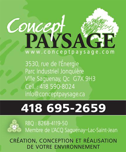 Concept Paysage (418-695-2659) - Annonce illustrée======= -