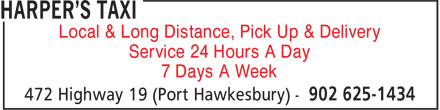 Harper's Taxi (902-625-1434) - Annonce illustrée======= - Local & Long Distance, Pick Up & Delivery Service 24 Hours A Day 7 Days A Week