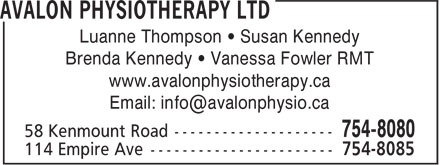 Avalon Physiotherapy Ltd (709-754-8080) - Annonce illustrée======= - www.avalonphysiotherapy.ca Luanne Thompson • Susan Kennedy Brenda Kennedy • Vanessa Fowler RMT