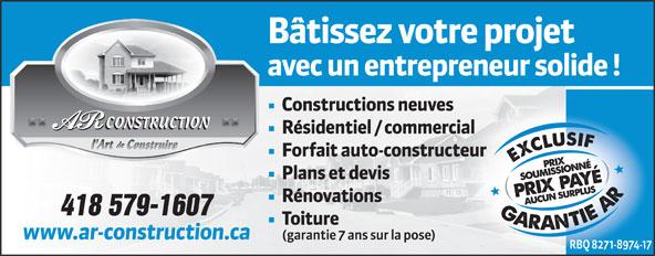 AR Construction (418-695-6646) - Display Ad - CONSTRUCTION 418 579-1607