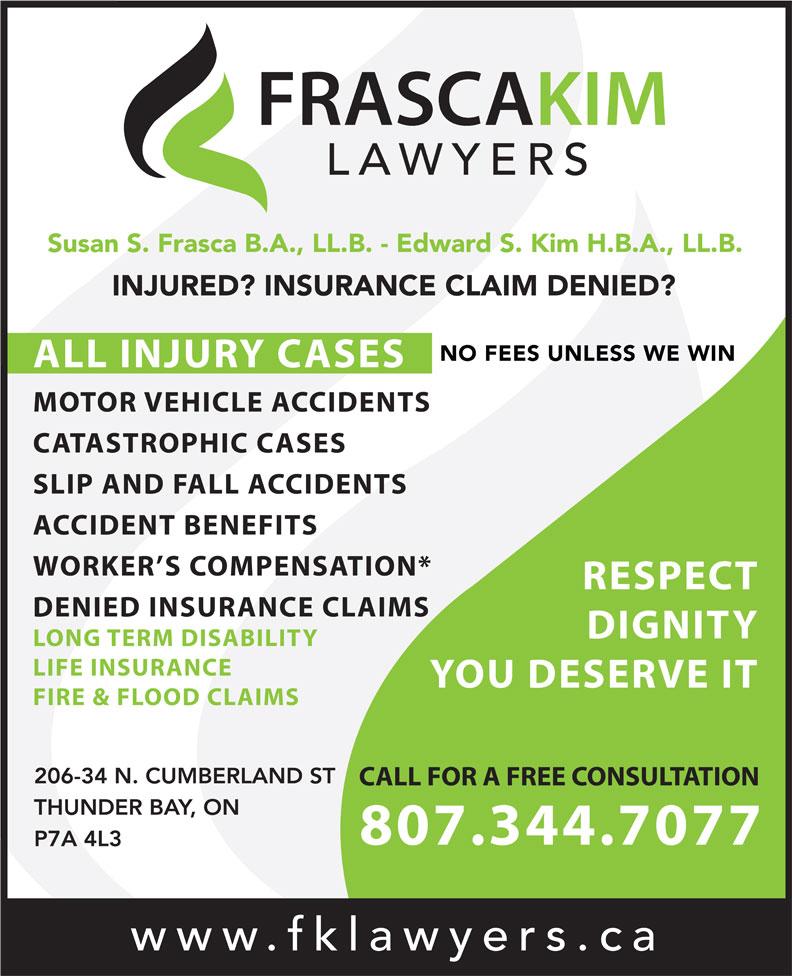FrascaKim Lawyers (807-344-7077) - Annonce illustrée======= -