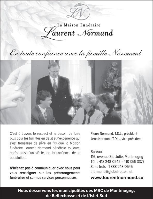Salon Funéraire Laurent Normand (418-248-0545) - Annonce illustrée======= -