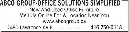 ABCO Group Office Solutions Simplified (416-750-0118) - Display Ad - New And Used Office Furniture Visit Us Online For A Location Near You www.abcogroup.ca