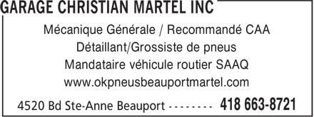OK Pneus (418-663-8721) - Annonce illustrée======= - Mécanique Générale / Recommandé CAA Détaillant/Grossiste de pneus Mandataire véhicule routier SAAQ www.okpneusbeauportmartel.com