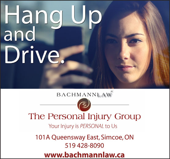 Bachmannlaw The Personal Injury Group (519-428-8090) - Annonce illustrée======= - 101A Queensway East, Simcoe, ON 519 428-8090 www.bachmannlaw.ca