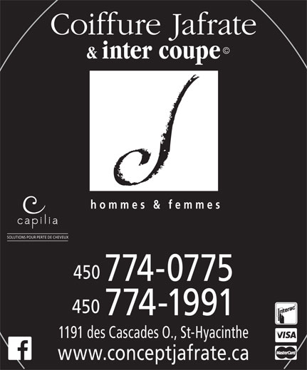 Coiffure Jafrate & Inter-Coupe (450-774-0775) - Annonce illustrée======= -