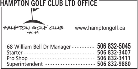 Hampton Golf Club Ltd (506-832-5045) - Display Ad - www.hamptongolf.ca