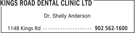 Kings Road Dental Clinic Ltd (902-562-1600) - Annonce illustrée======= - Dr. Shelly Anderson