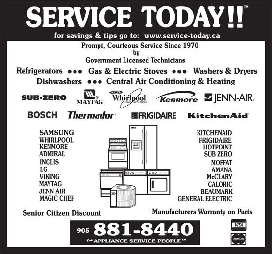 The Appliance Service People (905-881-8440) - Annonce illustrée======= -