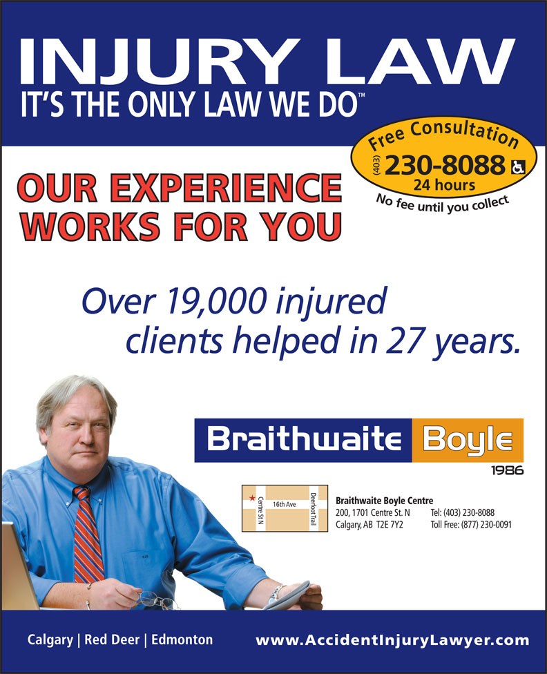 Braithwaite Boyle Accident Injury Law (403-230-8088) - Annonce illustrée======= -