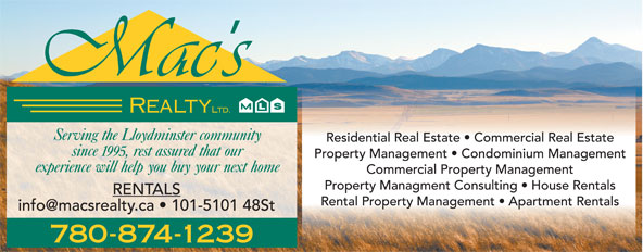Mac's Realty Ltd (780-875-9449) - Display Ad - 780-874-1239