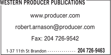 Western Producer Publications (204-726-9463) - Annonce illustrée======= - www.producer.com Fax: 204 726-9542