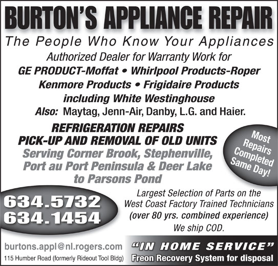 Burtons Appliance Repairs Opening Hours 115 Humber Rd