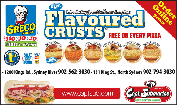Greco Pizza (902-310-3030) - Annonce illustrée======= - CRUSTS OnlineOrder CRUSTS www.captsub.com