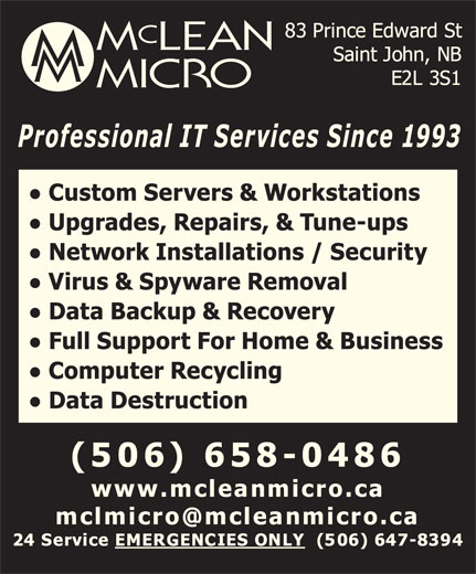 Mclean Micro (506-658-0486) - Display Ad -