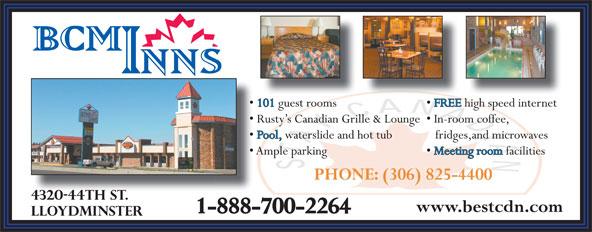 Best Canadian Motor Inn (306-825-4400) - Annonce illustrée======= - 1-888-700-2264 PHONE: (306) 825-4400