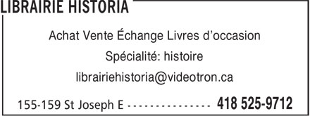 Librairie Historia (418-525-9712) - Display Ad -