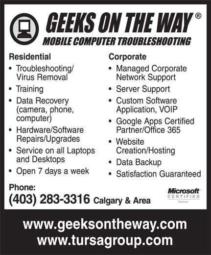 Geeks On The Way (403-283-3316) - Annonce illustrée======= -