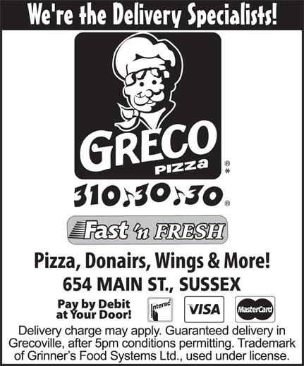 Greco Pizza (506-432-6060) - Annonce illustrée======= -