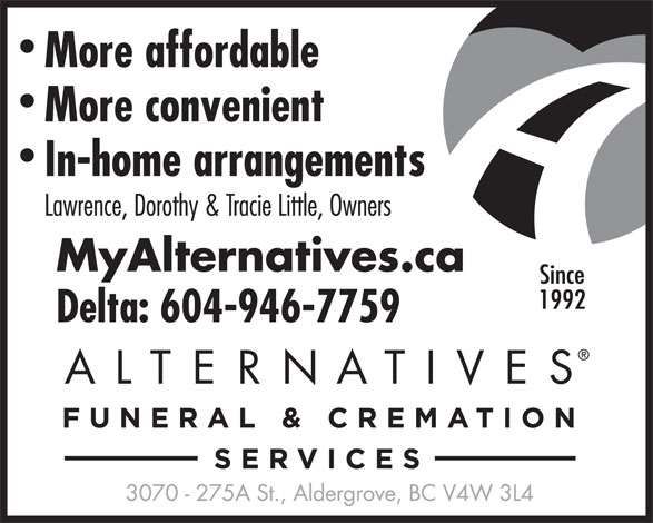 Personal Alternative Funeral Services (604-946-7759) - Annonce illustrée======= -
