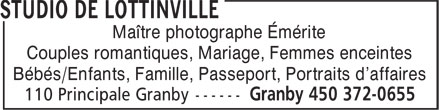 Studio De Lottinville (450-372-0655) - Annonce illustrée======= - Maître photographe Émérite Couples romantiques, Mariage, Femmes enceintes Bébés/Enfants, Famille, Passeport, Portraits d'affaires