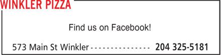 Winkler Pizza (204-325-5181) - Display Ad - Find us on Facebook!