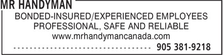 Mr Handyman of Hamilton (905-381-9218) - Annonce illustrée======= - BONDED-INSURED/EXPERIENCED EMPLOYEES PROFESSIONAL, SAFE AND RELIABLE www.mrhandymancanada.com
