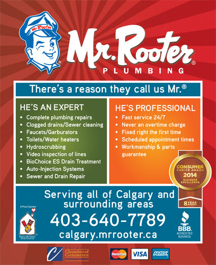 Mr Rooter Plumbing (403-640-7789) - Annonce illustrée======= -
