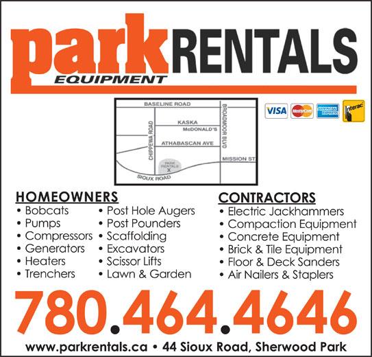 Park Rentals Inc (780-464-4646) - Display Ad -