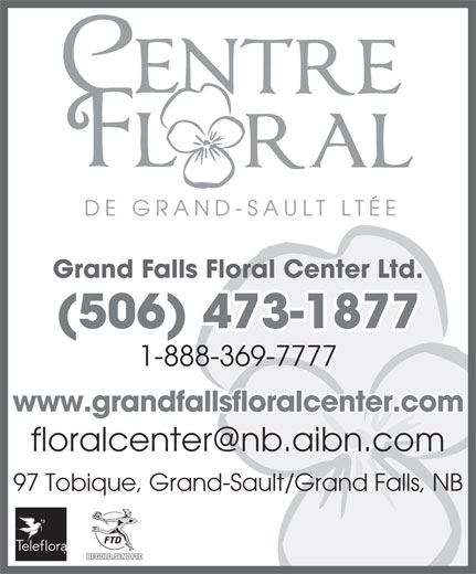 Fleuriste Centre Floral de Grand-Sault (506-473-1877) - Display Ad - DE GRAND-SA ULT LTÉE Grand Falls Floral Center Ltd. (506) 473-1877 1-888-369-7777 www.grandfallsfloralcenter.com 97 Tobique, Grand-Sault/Grand Falls, NB BE GOLD. SEND FTD