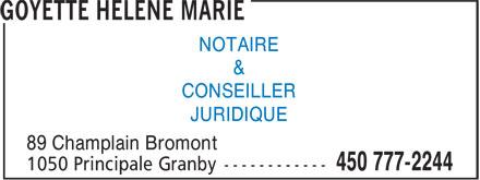 Goyette Hélène Marie (450-777-2244) - Annonce illustrée======= - NOTAIRE & CONSEILLER JURIDIQUE