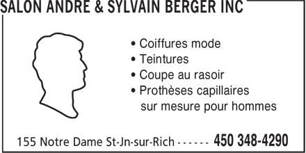 Salon Sylvain Berger Inc (450-348-4290) - Annonce illustrée======= -