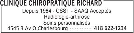 Clinique Chiropratique Richard (418-622-1234) - Annonce illustrée======= - Depuis 1984 - CSST - SAAQ Acceptés Radiologie-arthrose Soins personnalisés